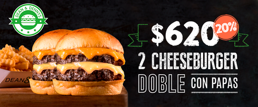 AR- RESTAURANTES - 20%off 2 cheeseburger doble+papas