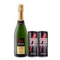 1 Champagne Mumm Extra Brut 750 ml y 2 Speed 250 ml
