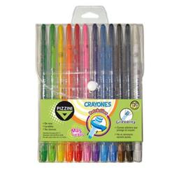Crayones de cera retráctiles Pizzini 17 cm. Cuerpo plástico