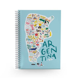 Cuaderno Argentina con espiral A5 rayado tapa dura - 96 hojas.
