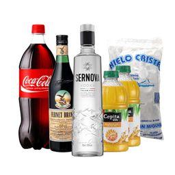 Combo: Branca 750 mL + Coca + Sernova 700 mL + 2 Jugos + Hielo