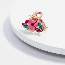 Broche Isadora Metalico Con Flores y Piedras