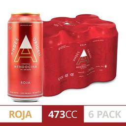 Cerveza Andes Roja Lata Medio 473 cc x 6