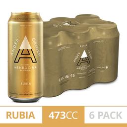 Cerveza Andes Rubia Lata Medio 473 cc x 6
