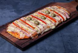 Pizza con Mozzarella, Jamón & Morrones