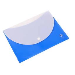 Sobre Cartopel Plástico Con Botón Tamaño Chequera Azul