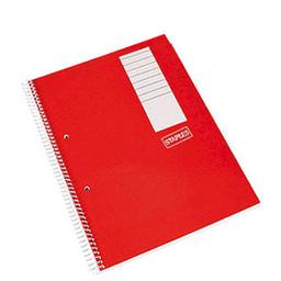 Cuaderno Staples A4 Con Espiral Cuadriculado Rojo 80 Hojas