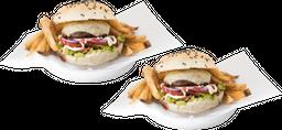 2 Old School Burgers + Papas Rústicas