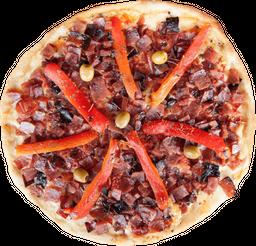 Pizza Mozzarella, Panceta y Morrones