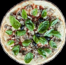 Pizza Champignon, Mozzarella, Ajo y Albahaca