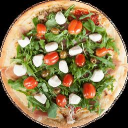Pizza de Jamón Crudo, Bocconcini, Rúcula y  Cherries