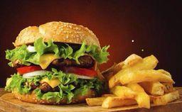Súper Burger + Papas + Bebida