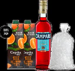 Combo Campari + 2 Jugos de Naranja + Hielo