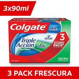 Crema Dental Colgate Triple Acción Menta Original 90g Pack 3 u
