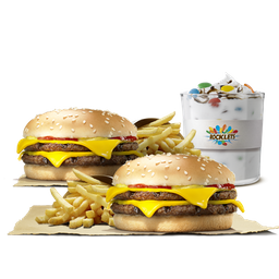 2 Doble Queso Doble Carne + Papas + King Mix XL