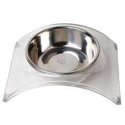 Animal Pet Comedero Bebedero Acrílico Con Bowl de Acero