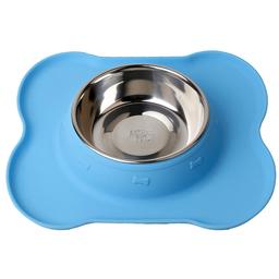 Animal Pet Comedero Bebedero de Silicona Con Bowl de Acero