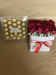 Caja de 12 Rosas Box Pretty Roses + Bombones Grandes
