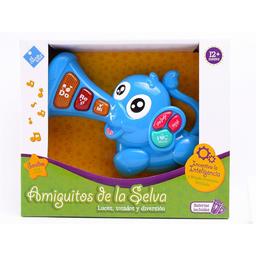 Duende Azul Piano Elefante Musical de Bebe Con Luz y Sonido Azul