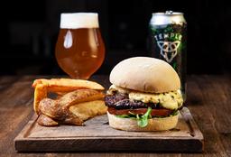 Blue Burger + Papas Rústicas + Birra