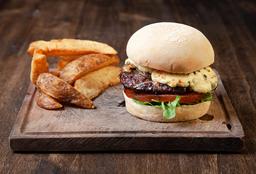 Blue Burger + Papas Rústicas