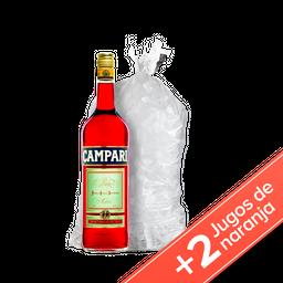Campari 750ml + 2 Baggio Naranja 1 L + Hielo 2.5kg