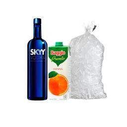 Skyy 750Ml + 2 Baggio Naranja 1L + Hielo 2.5kg