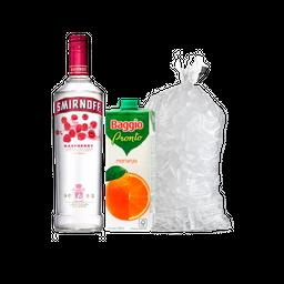 Smirnoff Saborizados 700Ml + 2 Baggio Naranja 1L + Hielo 2.5kG