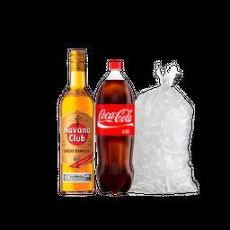 Havana 3 años 750Ml + Coca-Cola 2.25l + Hielo 2.5Kg