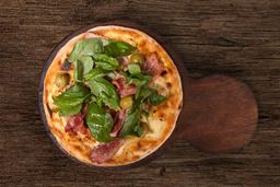 Pizza de Muzzarella, Panceta & Albahaca