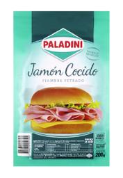Jamon Cocido Feteado Paladini Al Vacio X 200 Gr.