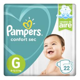 Pampers Confort Sec Pañales Desechables G 22 Unidades