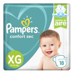 Pampers Confort Sec Pañales Desechables XG 18 Unidades