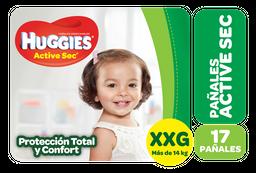 Pañal Desechable Huggies Active Sec  Xxg Mega 17 U