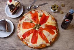 Pizza de Jamón & Morrón + Bebida + 2 Postres