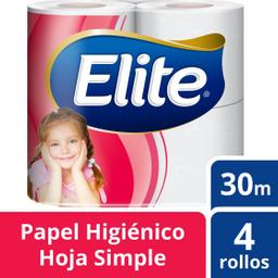 Papel Higiénico Elite Hoja Simple 4Ux30M C/U