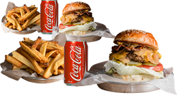 2 Burger Jimmy + Papas + Bebidas