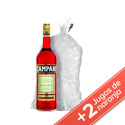 Combo Campari 750ml + 2 Jugo Cepita Naranja 1lt + 1Hielo 4kg