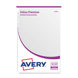 Folios Avery (71010) Premium - Oficio, 70 Micrones, 10 Unidades