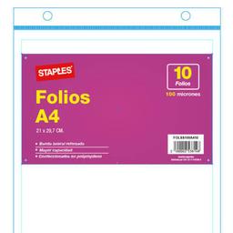 Folios Staples Polipropileno 100 Mic A4 -Pack X 10 Unidades