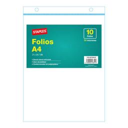Folios Staples Polipropileno 70 Mic A4 - Pack X 10 Unidades