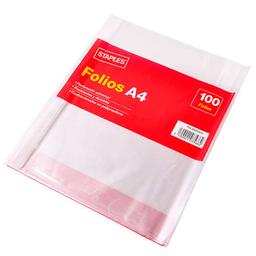 Folios Staples Polipropileno 40 Mic A4 - Pack X 100 Unidades