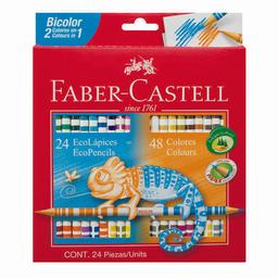 Lápices Colores Faber Ecolápiz Bicolor Largos Caja X 24 (48 Colo