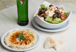 Humus + Ensalada Fetuch + Bebida