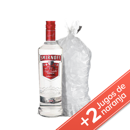 Combo Vodka Smirnoff + 2 Jugos +  Hielo 2,5 Kg