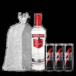 Combo Vodka Smirnoff +3 Speed +  Hielo 2,5 Kg