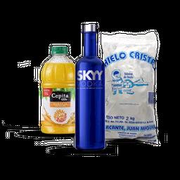 Combo Skyy + Jugo 1L + Hielo 2Kg