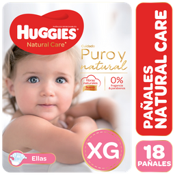 Combo 2U Pañal Huggies Natural Care Ellas Xgx18