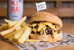 Combo 1 - American Burger + Papas + Cerveza Kira