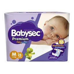 "Pañales Babysec Premium ""M"" 26 Unidades"